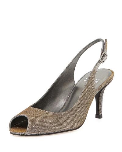 Slinky Glitter Peep-Toe Slingback, Pyrite