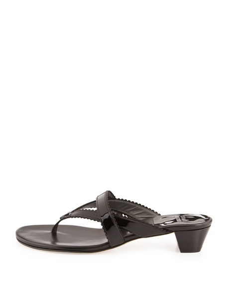 Triango Patent Thong Slide, Black