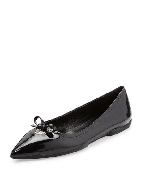 Patent Point-Toe Ballerina Flat, Black