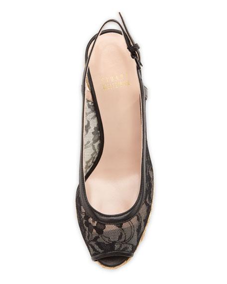Tuileries Lace Wedge Espadrille Sandal, Black