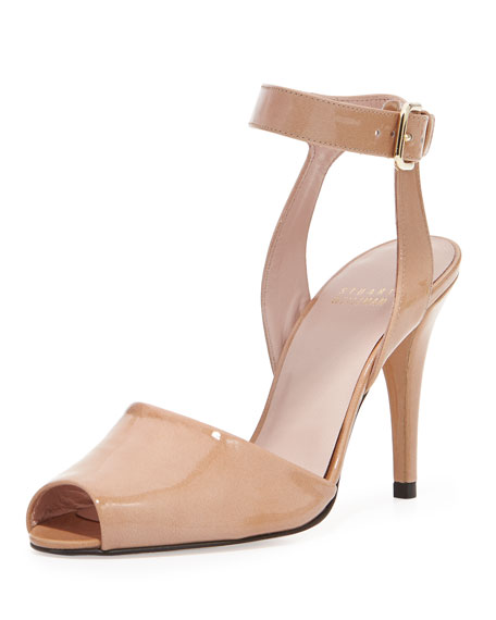 Waycool Strappy Patent Leather Pump, Nude