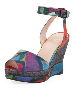 Stuart Weitzman Waycoolmid Printed Canvas Wedge
