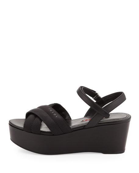 Crisscross Nylon Platform Sandal