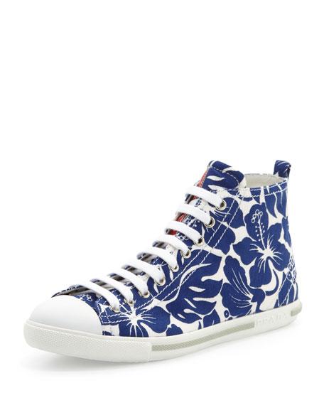 Floral-Printed Mid-Top Sneaker