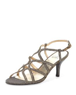 Stuart Weitzman Turningup Strappy Glitter Sandal, Pyrite