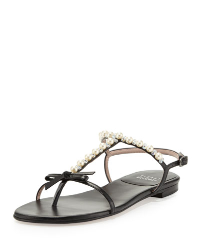 Stuart Weitzman Pearlize Beaded Leather Thong Sandal, Black