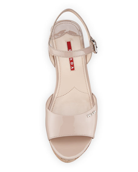 Patent Cork-Wedge Platform Sandal