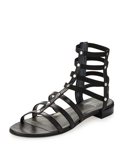 Stuart Weitzman Caesar Stretch Gladiator Sandal, Black (Made to Order)