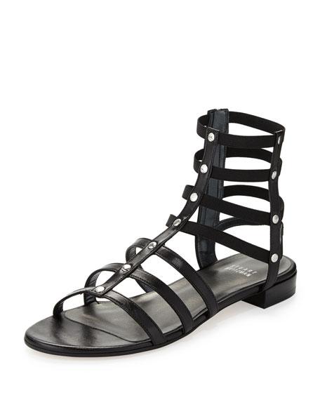 Caesar Stretch Gladiator Sandal, Black (Made to Order)