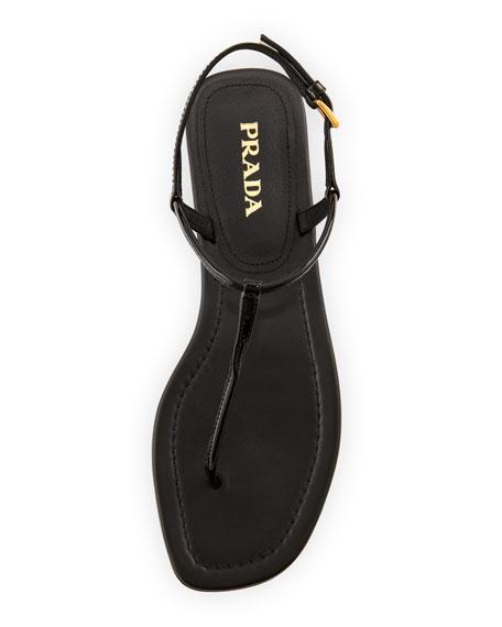 Patent Flat Thong Sandal, Black