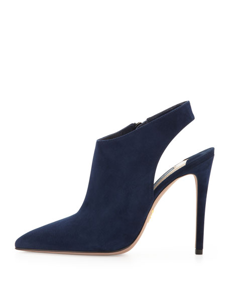 Suede Point-Toe Slingback Bootie, Blue