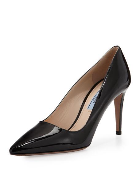 Saffiano Low-Heel Pump, Black