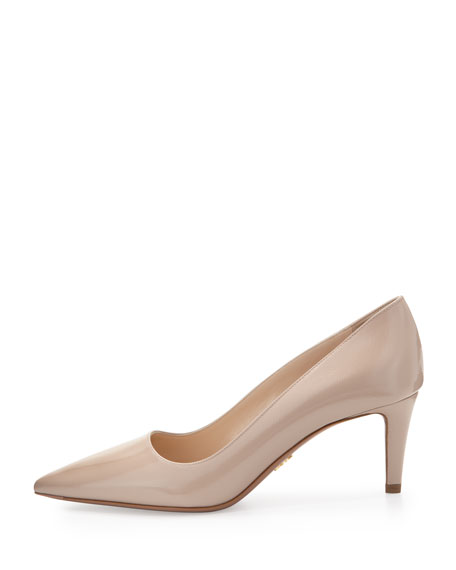 Vernice Saffiano Low-Heel Pointy Pump
