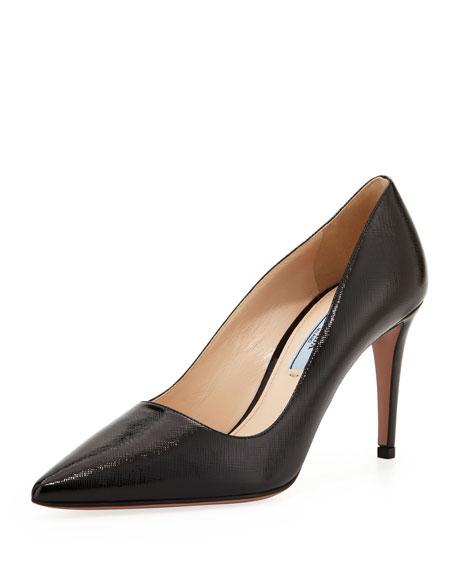 Mid-Heel Pointy Leather Pump, Black