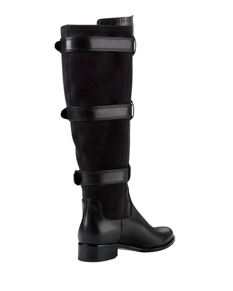 Air Avalon Triple-Buckle Leather Boot, Black