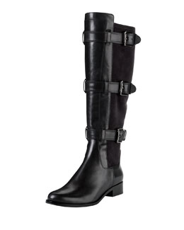 Cole Haan Air Avalon Triple-Buckle Leather Boot, Black