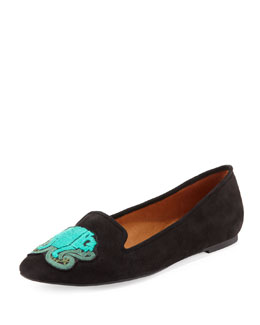 Rebecca Minkoff Birthday Zodiac Suede Slipper, Aquarius