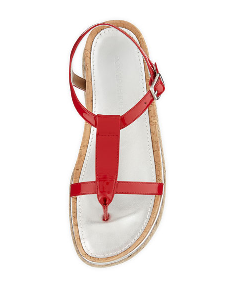 Cleo Patent Thong Sandal, Tomato
