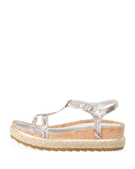 Cleo Snake-Print Thong Sandal, Silver