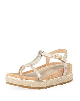 Donald J Pliner Cleo Brushed Leather Thong Sandal, Platino
