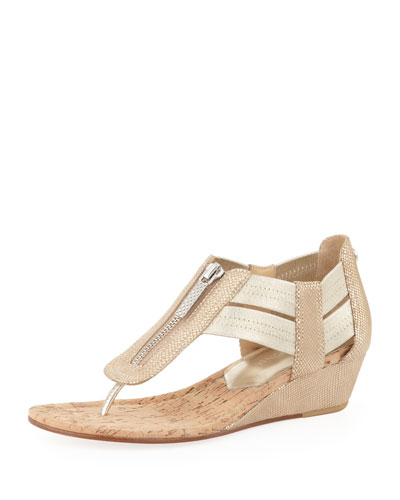 Donald J Pliner Dori Metallic Demi-Wedge Sandal, Natural/Platino