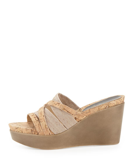 Jean Strappy Cork Stretch Wedge, Natural