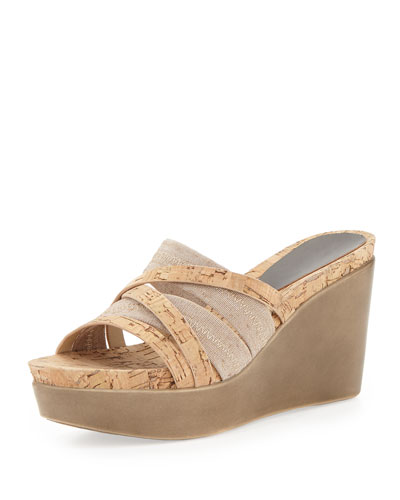 Donald J Pliner Jean Strappy Cork Stretch Wedge, Natural