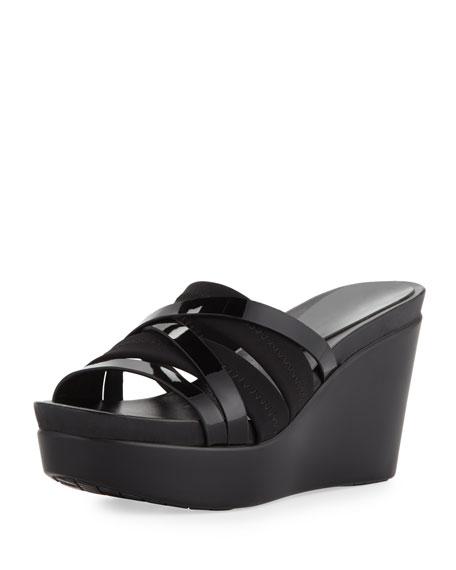 Jean Strappy Wedge Sandal, Black