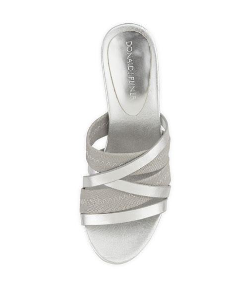 Jean Strappy Wedge Sandal, Silver