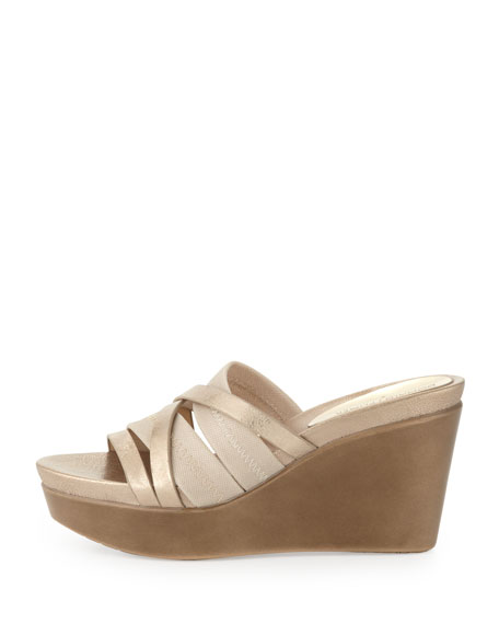 Jean Strappy Wedge Sandal, Platino
