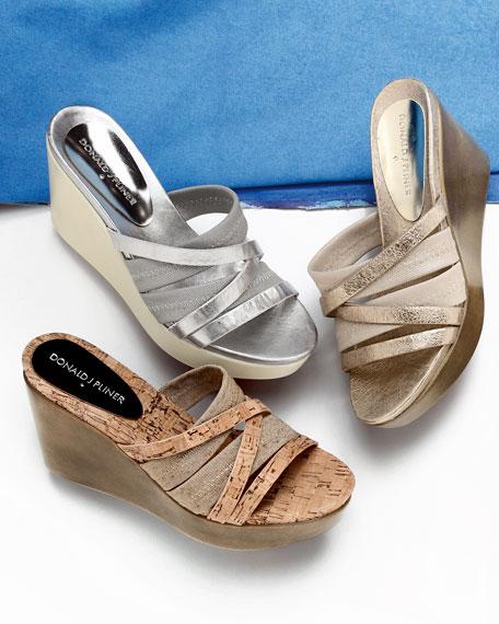 Jean Strappy Wedge Sandal, Platino