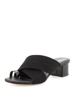 Donald J Pliner Mara Stretch-Mesh Toe-Ring Sandal, Black