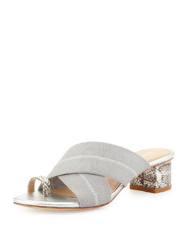 Donald J Pliner Mara Metallic Toe-Ring Sandal, Silver