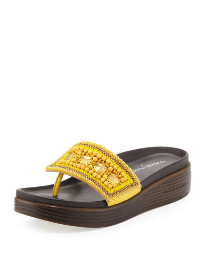 Donald J Pliner Fifi Beaded Platform Sandal, Lemon