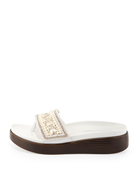Fifi Beaded Platform Sandal, White