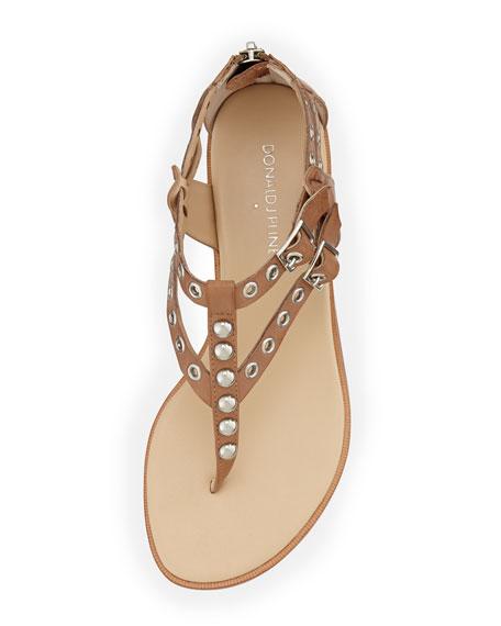 Lulu Studded Leather Sandal, Natural