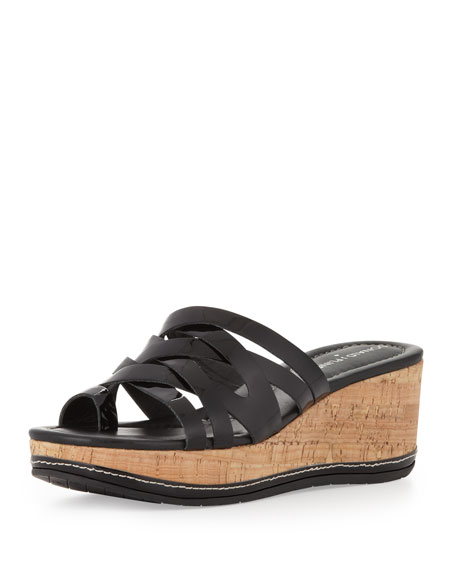 Salma Strappy Patent Wedge Sandal, Black