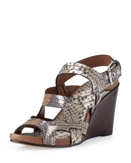 Gilda Snake-Print Wedge Sandal, Cognac