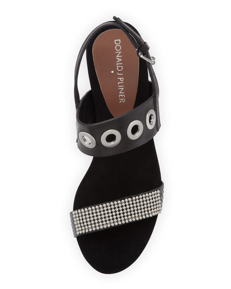 Jerri Bead-Embellished Wedge Sandal, Black