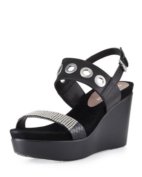 Jerri Bead-Embellished Wedge Sandal, Black