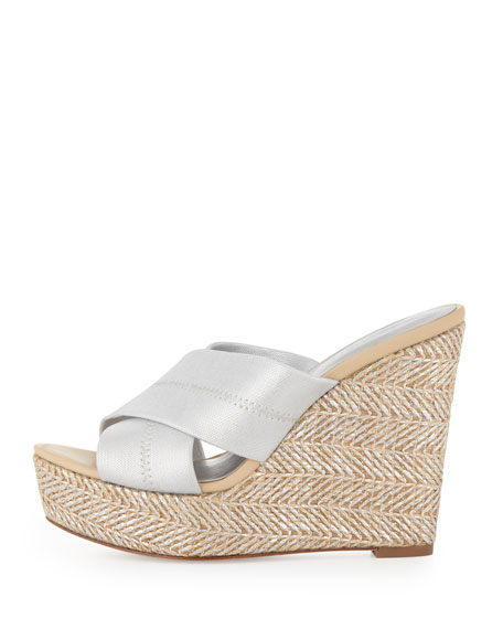 Kaz Metallic Crisscross Wedge Sandal, Silver