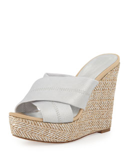 Donald J Pliner Kaz Metallic Crisscross Wedge Sandal, Silver