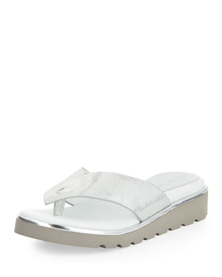 Liv Chunky Patent Flip Flop, Silver