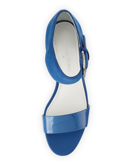 Malibu Ankle-Strap Cork Wedge, Capri Blue