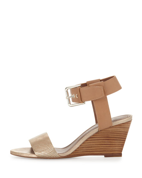 Paras Metallic Wedge Sandal, Gold/Natural