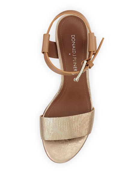 Paras Metallic Wedge Sandal, Gold/Natural