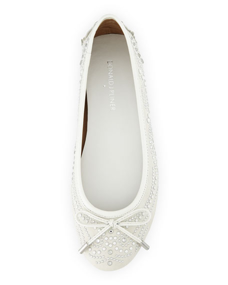 Riki Embellished Ballerina Flat, Ivory