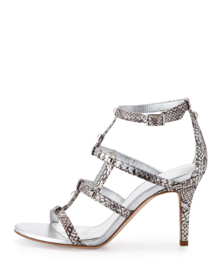 Thee Snake-Print Strappy Sandal, Silver