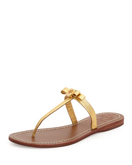 Tory Burch Leighanne Bow Thong Sandal, Gold
