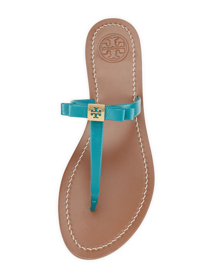 Leighanne Bow Thong Sandal, Aquarius